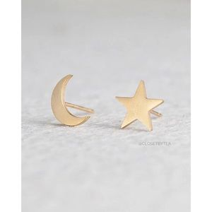 """Ellie"" Moon and Star Earrings // Gold"